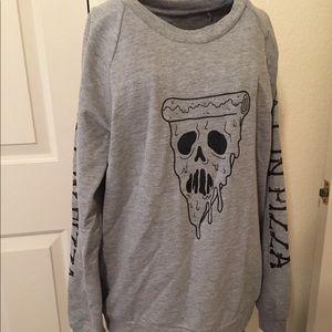 skull pizza pullover sweatshirt